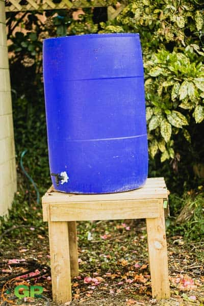 Blue drum with tap added on its stand